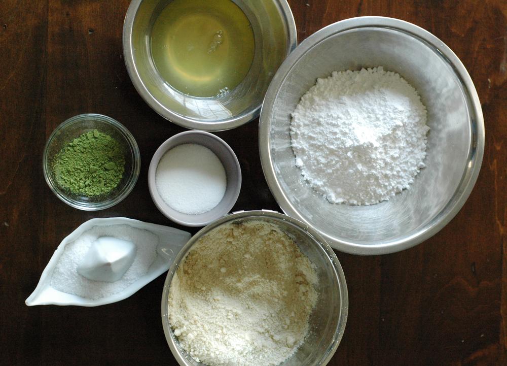 ingredients to make matcha macarons