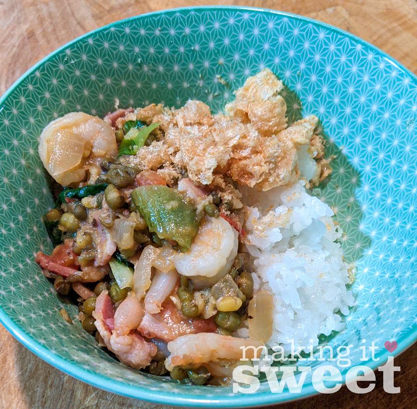 Serve munggo over rice